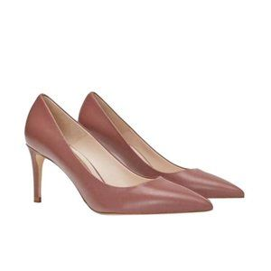 DUSTY PINK LEATHER HIGH HEELS PUMPS SHOES 6